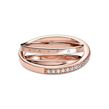 Crossover Pavé Triple Band Ring, sz 7.0