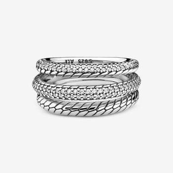 Triple Band Pavé Snake Chain Pattern Ring, size 7.5