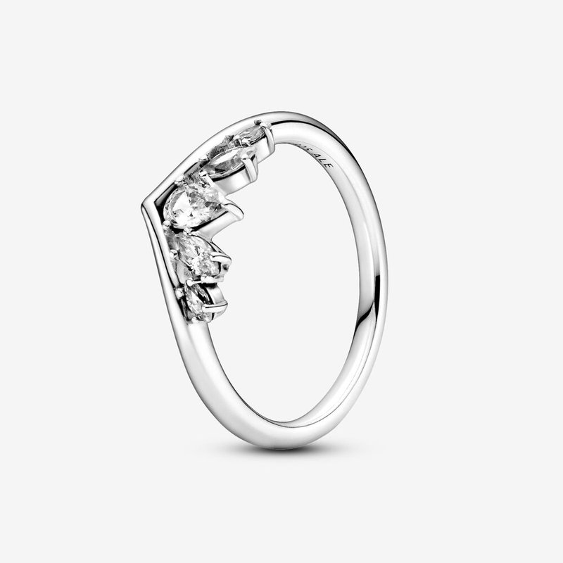 Pandora Sparkling Pear & Marquise Wishbone Ring, size 6.0