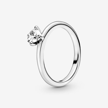 Clear Heart Solitaire Ring, size 7.5