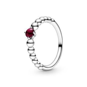 January Dark Red Beaded Ring, size 7.0