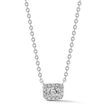 14k Emerald Cut Halo Diamond Pendant