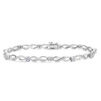 10k White Gold Vintage Inspired Diamond Tennis Bracelet, 1.00 tdw