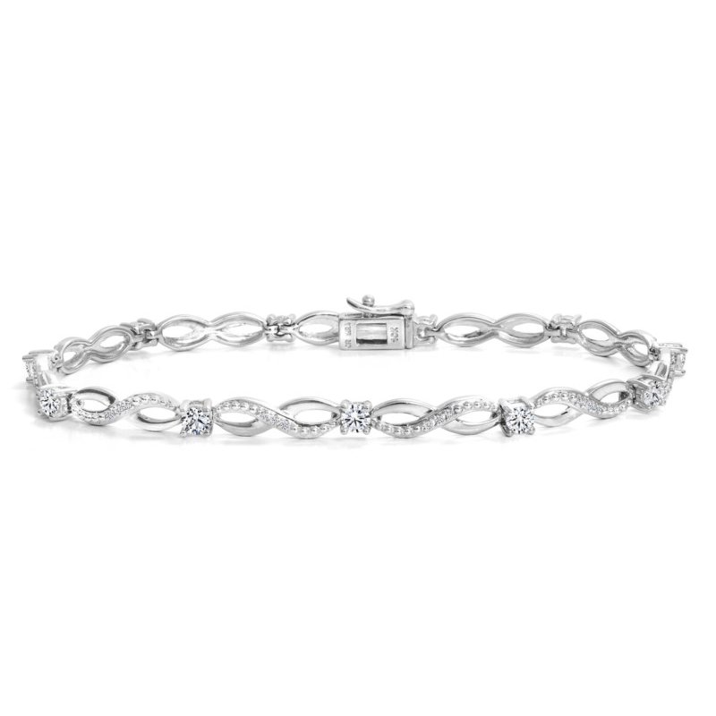 Canadian Rocks 10k White Gold Vintage Inspired Diamond Tennis Bracelet, 1.00 tdw