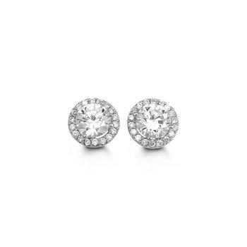 10k Bella Halo Stid CZ Earrings