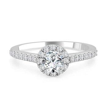 14K Diamond Halo Engagement Ring, 0.75 TDW