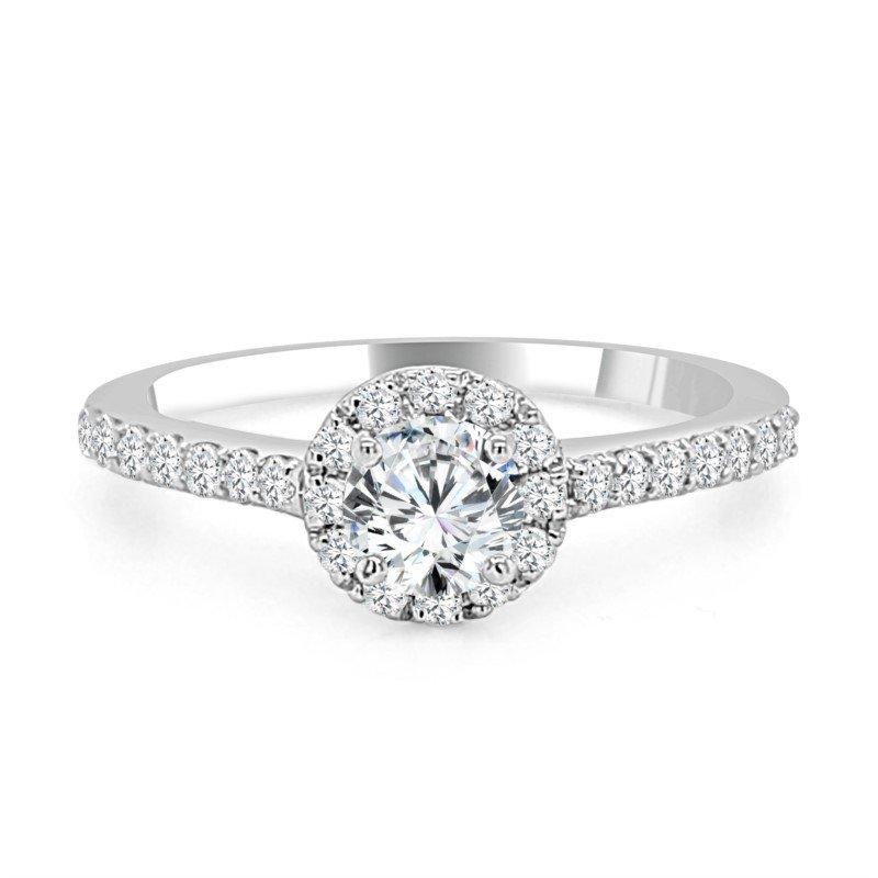 Paragems 14K Diamond Halo Engagement Ring, 0.75 TDW