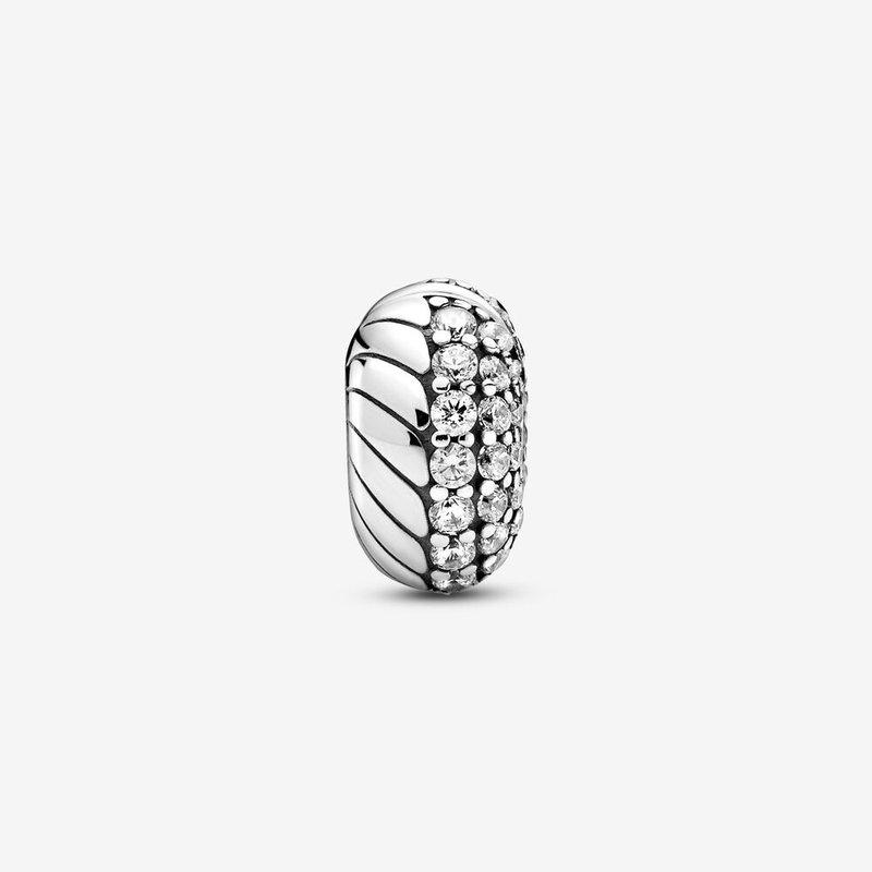 Pandora Pavé Snake Chain Pattern Clip Charm