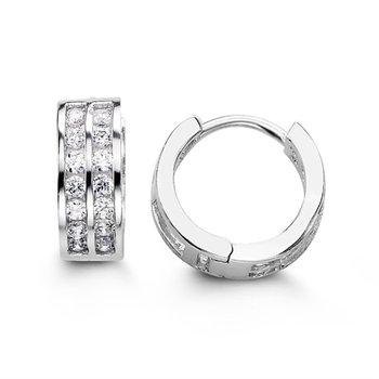 Bella 925 Sterling Silver CZ Huggie Earrings