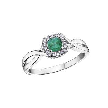 10K May Birthstone Halo Ring