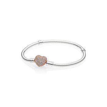 """Moments Pavé Heart Clasp Snake Chain Bracelet, 7.9"""""""