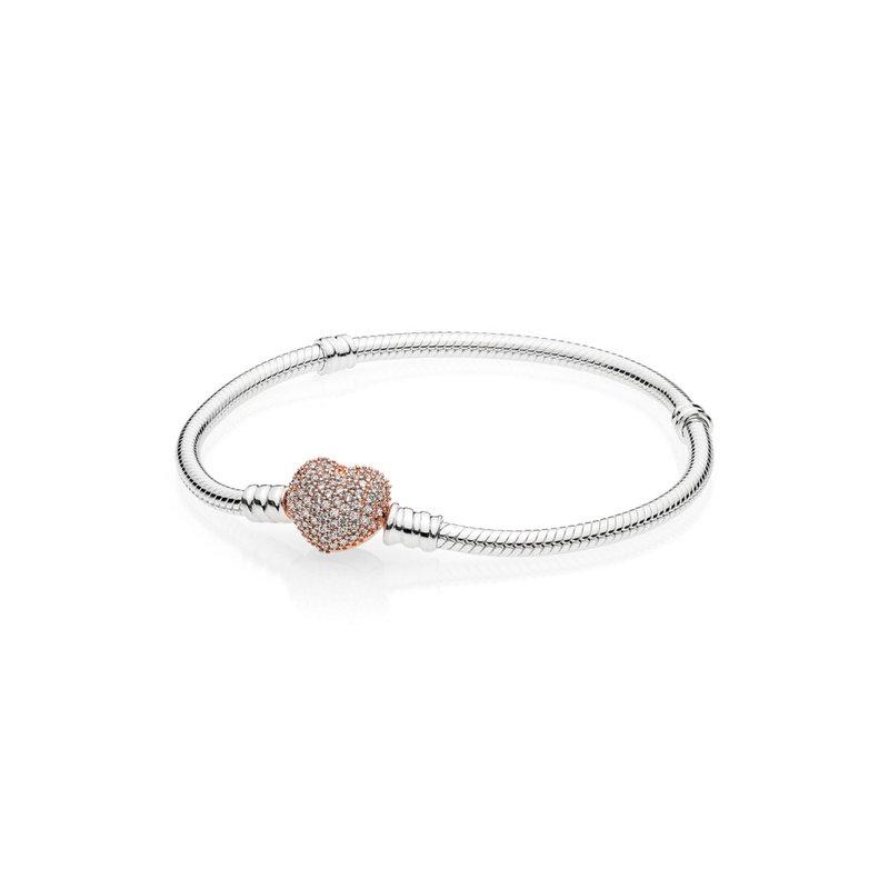 """Pandora Moments Pavé Heart Clasp Snake Chain Bracelet, 7.9"""""""