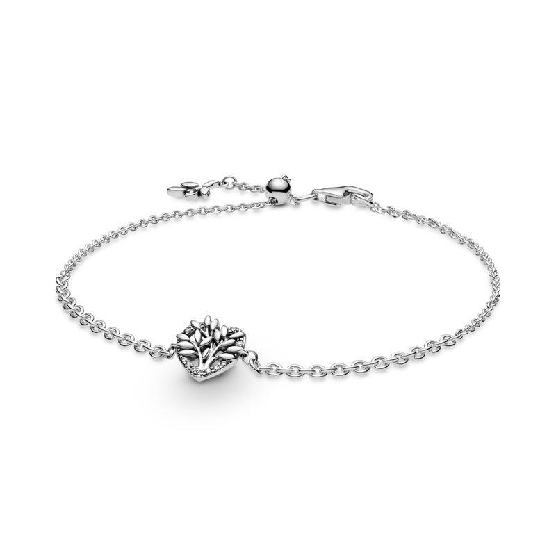 "Pandora Heart Family Tree Chain Bracelet, 7.9"" (Adjustable Smaller)"