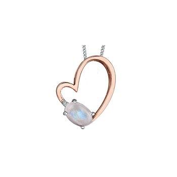 10K Moonstone Heart Pendant