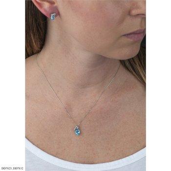 10K Blue Topaz & Diamond Earrings