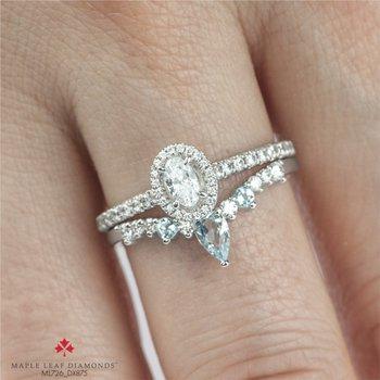 10K Diamond & Aquamarine Chevron Ring