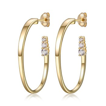 Sterling Silver Yellow Gold Plated 30 x 20mm Hoop Earrings