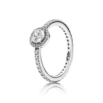Classic Sparkle Halo Ring, size 7.0