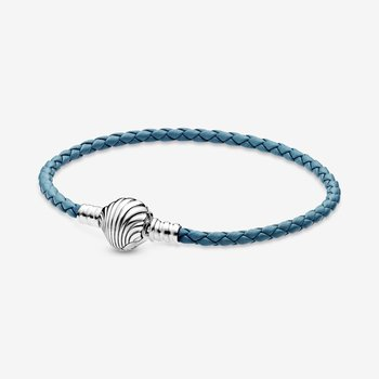 "Moments Seashell Clasp Turquoise Braided Leather Bracelet, 8.1"""