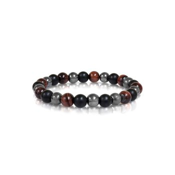 """Tiger Eye & Hematite Bracelet, 8.7"""""""