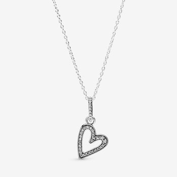 """Sparkling Freehand Heart Pendant Necklace, 19.7"""""""