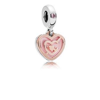 Pink Heart Labyrinth Dangle Charm - FINAL SALE