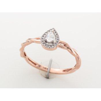 14K Pear Halo Engagement Ring, 0.13 TDW