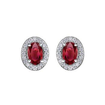 10K Ruby & Diamond Halo Earrings