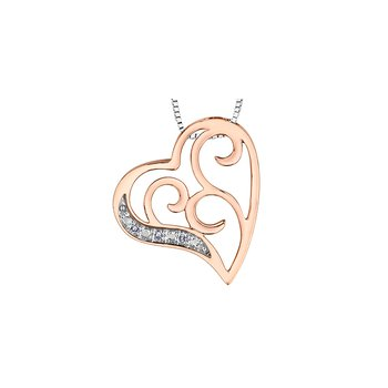 10K Filligree Diamond Heart Pendant