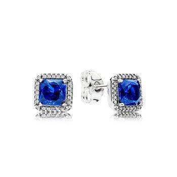 Blue Square Sparkle Earrings