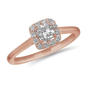 14K Cushion Cut Diamond Halo Engagement Ring, 0.65 TDW