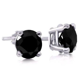14K Black Diamond Studs, 1.05 TDW