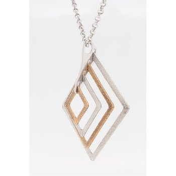 Multi Square Sterling Silver Pendant & Chain