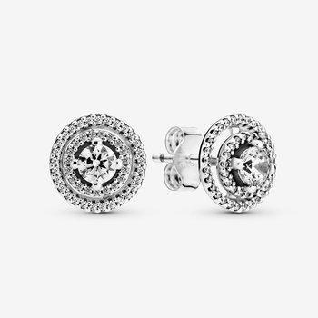 Sparkling Double Halo Stud Earrings