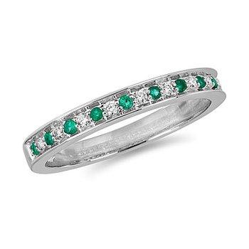 10K Emerald & Diamond Band