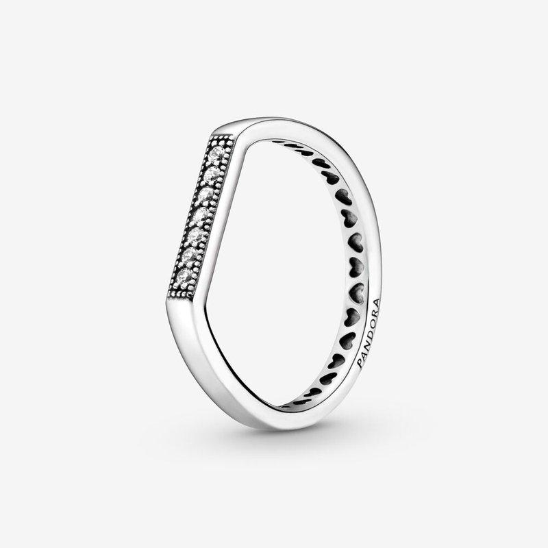 Pandora Sparkling Bar Stacking Ring, size 7.0