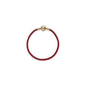 """Moments Red Woven Leather Bracelet, 7.5"""" (Medium)"""