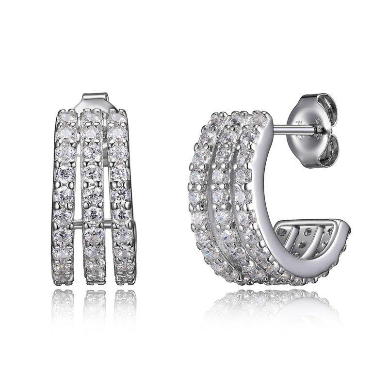 Reign Sterling Silver CZ Huggie Earrings