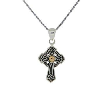 Sterling Silver & 18K Gold Celtic Cross