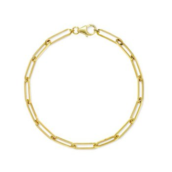 "Gold Plated Paperclip Link Bracelet - 7.25"""