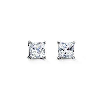 Bella 925 Sterling Silver 6mm Square CZ Stud Earrings