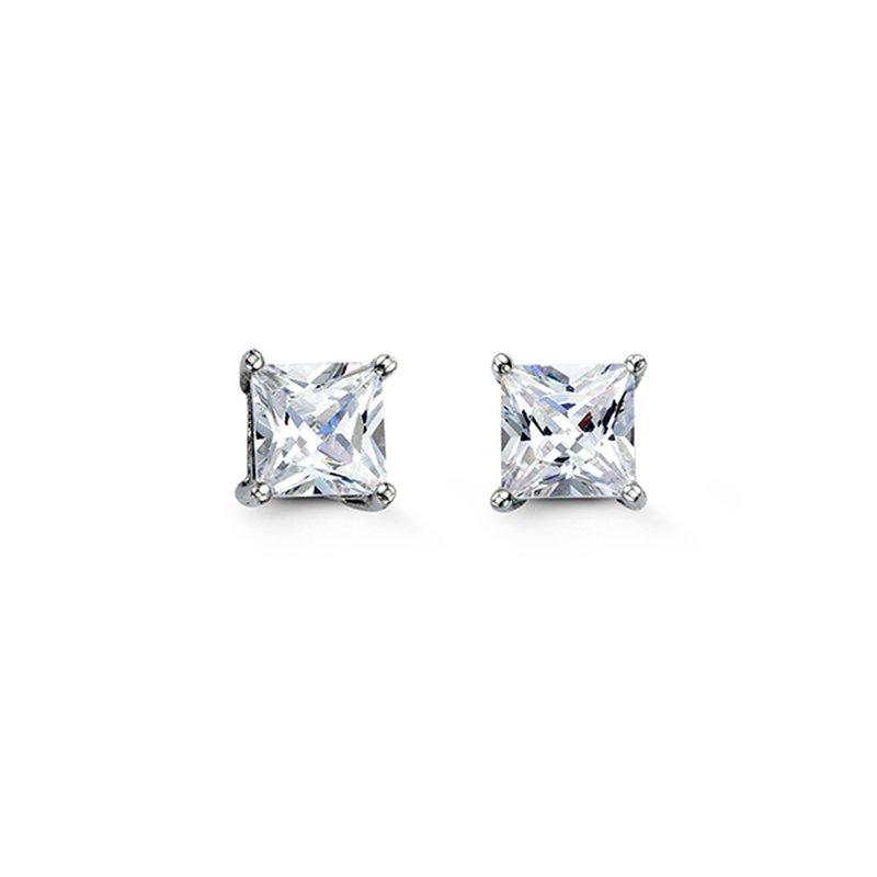 Bella Bella 925 Sterling Silver 6mm Square CZ Stud Earrings