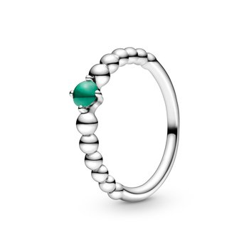 May Rainforest Green Beaded Ring, size 6.0
