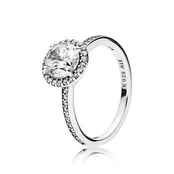 Round Sparkle Halo Ring, size 7.5