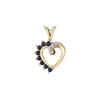 10K Sapphire Heart Pendant