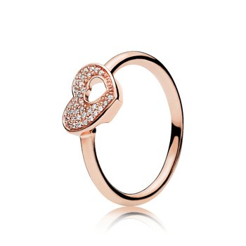 Shimmering Puzzle Heart Frame Ring, sz 8.5 - FINAL SALE