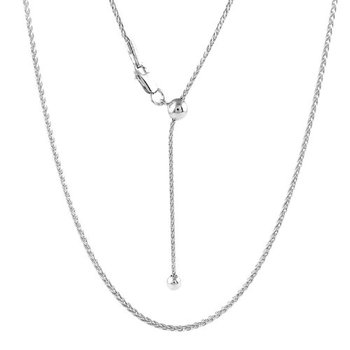 Sterling Silver Adjustable Rhodium Plated Singapore Chain