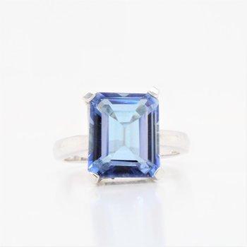 10K Emerald Cut Blue Topaz Ring