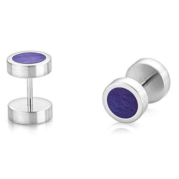 Round Earrrings with Purple Inlay
