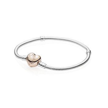 "Moments Heart Clasp Snake Chain Bracelet, 9.1"""